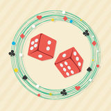 Red dices with frame for Casino. Royalty Free Stock Photos