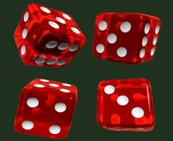 Red dices green isolated Stock Images