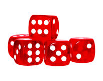 Red dices. Isolated photo of five stacked dices Royalty Free Stock Photos