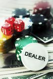 Red Dices Money Chips and Gambling Cards royalty free stock photo