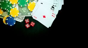 Red Dices Money Chips and Gambling Cards royalty free stock photos