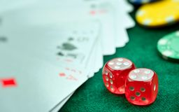 Red Dices Money Chips and Gambling Cards stock photography