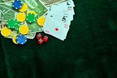 Red Dices Money Chips and Gambling Cards royalty free stock image