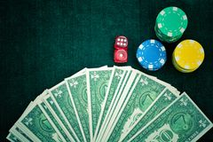 Red Dices Money Chips and Gambling Cards stock photo