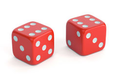 Red dices with number 6 Stock Photography