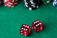 Red dices and poker chips Stock Image