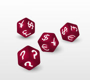 Red dices with symbols of euro, dollar, pound, yuan,  yen and question. Vector illustration. Royalty Free Stock Image