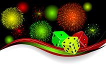 Red dices. Three dices and fireworks on black background Stock Image