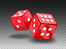 Red dices on transparent backgrund. Royalty Free Stock Photo