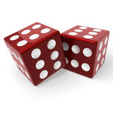 Red dices. Two red dices on white Stock Photo