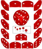 Red die. Rendered red die with labels for all numbers for top, left and right side.  Addition-sample in the frame Royalty Free Stock Photo