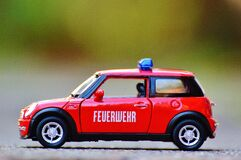 Red Diecast Mini Cooper Police Car Royalty Free Stock Photo