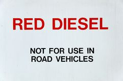 Red Diesel Sign. Stock Photos