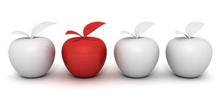 Red different apple in white others set group Stock Images