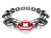 Red Different Chain Link. Teamwork Concept Stock Images