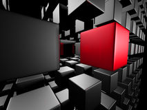 Red Different Cube Out From Dark Metal Group Stock Photos