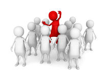 Red different 3d man in white crowd group. Individuality concept 3d render illustration Stock Photography