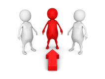 Red different 3d person choice arrow pointing Royalty Free Stock Photography