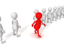 Red different 3d person walks out from crowd Royalty Free Stock Images