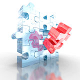 Red Different Glass Jigsaw Puzzle Piece. 3d Render Illustration Royalty Free Stock Images
