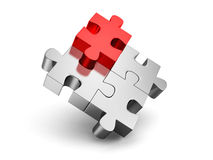 Red different individual jigsaw puzzle. 3d render illustration Stock Photos