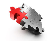 Red different individual jigsaw puzzle Stock Photos