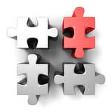 Red different individual jigsaw puzzle Royalty Free Stock Images