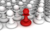 Red different pawn out from white crowd Stock Photo