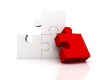 Red different piece of white puzzle group. 3d render illustration Royalty Free Stock Images