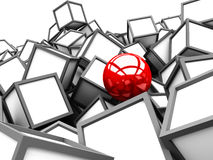 Red Different Sphere Among White Cube Blocks Stock Photography