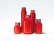 Red different types of gas bottles. 3d rendering