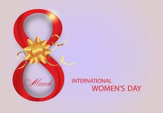 Red Digit eight decorated golden bow and ribbons for Holiday March 8 International Women`s Day. Vector. Illustration vector illustration