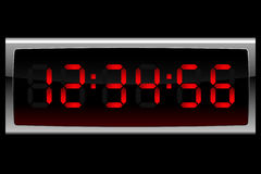 Red digital clock Stock Images