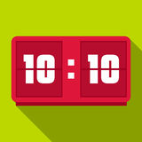 Red digital clock icon, flat style Stock Image