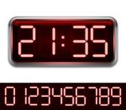 Red Digital Clock Stock Photo