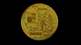 Red digital de la encripción de la moneda crypto del blockchain de Bitcoin para el dinero del mundo almacen de metraje de vídeo