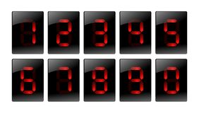 Red digital number icons. Illustration 3D matrix digits for web Stock Photos