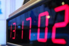 Red digital Timer, numbers counting. The time on the clock Royalty Free Stock Photography