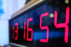 Red digital Timer, numbers counting. The time on the clock Royalty Free Stock Images