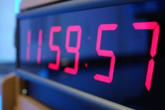 Red digital Timer, numbers counting. The time on the clock Royalty Free Stock Photo