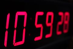 Red digital Timer, numbers counting. The time on the clock Stock Images