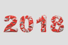 Red 2018 digits date polygons. Red 2018 digits date against a white background. Concept of planning and the new beginning. Polygons 3d rendering mock up Stock Photos