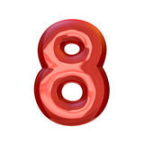 Red digits made of inflatable balloons isolated on transparent b. Red numbers made of inflatable balloons isolated on transparent background. 3D rendering Royalty Free Stock Images