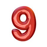 Red digits made of inflatable balloons isolated on transparent b. Red numbers made of inflatable balloons isolated on transparent background. 3D rendering Royalty Free Stock Photography