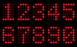 Red digits for matrix display. Royalty Free Stock Images