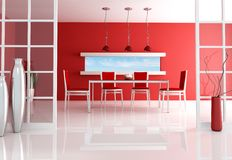 Red dining room. Contemporary red dining room - rendering Royalty Free Stock Image