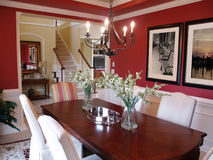Red Dining Room Stock Photo