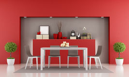 Red dining room Royalty Free Stock Photo