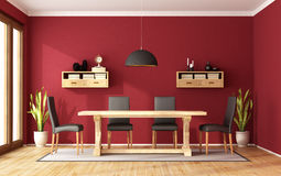 Red dining room Stock Photos
