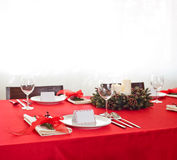 Red dinner table setup Royalty Free Stock Photo